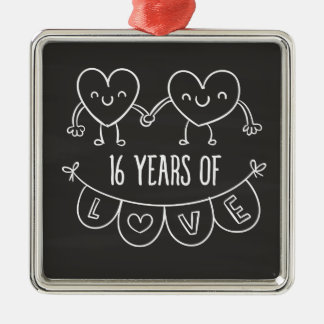 16th anniversary gift chalk hearts metal ornament