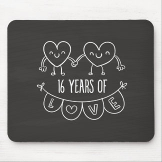 16th Anniversary Gift Chalk Hearts Mouse Pad
