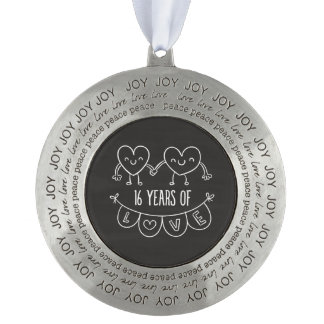 16th Anniversary Gift Chalk Hearts Pewter Ornament