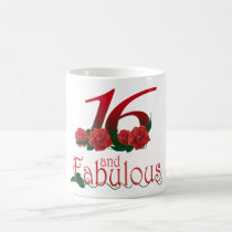 16th birthday 16 and fabulous red roses floral mug