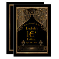 16th,Birthday 16th,Art Deco, black gold Card