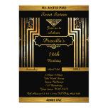 16th,Birthday 16th, Gatsby style, black & gold Card