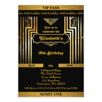 16th,Birthday 16th,Gatsby style,ticket,black gold Card