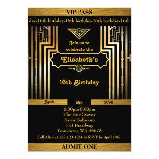 16th,Birthday 16th,Gatsby style,ticket,black gold Card