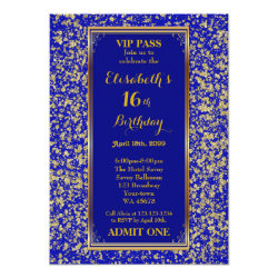 16th,Birthday 16th,Glitter Navy,ticket,Navy gold Card