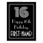 "[ Thumbnail: 16th Birthday — Art Deco Inspired Look ""16"" + Name Card ]"