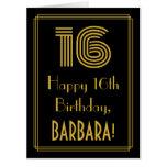 "[ Thumbnail: 16th Birthday: Art Deco Inspired Look ""16"" + Name Card ]"