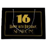 "[ Thumbnail: 16th Birthday — Art Deco Inspired Look ""16"" & Name Gift Bag ]"