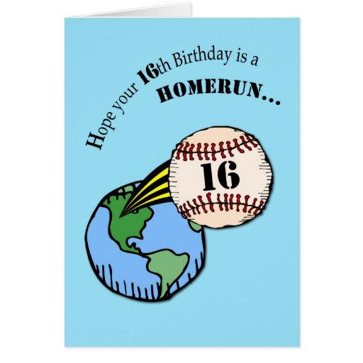 16th Birthday Baseball Home Run Card