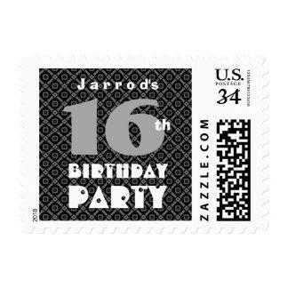 16th Birthday Black and Gray Diamond Pattern A06 Postage