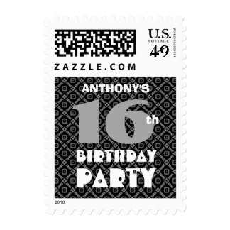 16th Birthday Black and Gray Diamond Pattern A07 Stamp