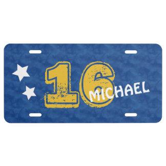 16th Birthday Blue and Gold Modern Grunge G16Z License Plate