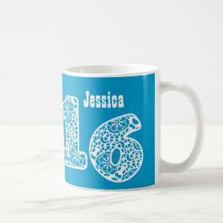 16th Birthday BLUE and WHITE Lace Numbers V12 Coffee Mug