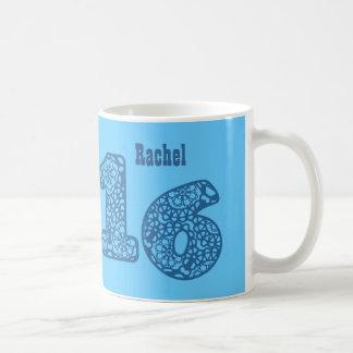 16th Birthday BLUE Lace Numbers V18 Coffee Mug
