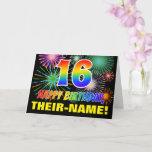 [ Thumbnail: 16th Birthday: Bold, Fun, Fireworks, Rainbow 16 Card ]