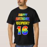 [ Thumbnail: 16th Birthday — Bold, Fun, Rainbow 16, Custom Name T-Shirt ]