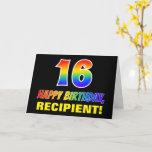[ Thumbnail: 16th Birthday: Bold, Fun, Simple, Rainbow 16 Card ]
