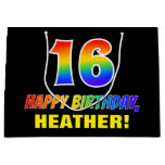 [ Thumbnail: 16th Birthday: Bold, Fun, Simple, Rainbow 16 Gift Bag ]
