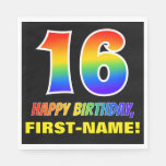 [ Thumbnail: 16th Birthday: Bold, Fun, Simple, Rainbow 16 Napkins ]