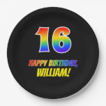 [ Thumbnail: 16th Birthday: Bold, Fun, Simple, Rainbow 16 Paper Plate ]