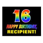 [ Thumbnail: 16th Birthday: Bold, Fun, Simple, Rainbow 16 Postcard ]