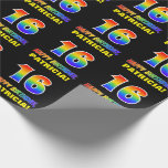 [ Thumbnail: 16th Birthday: Bold, Fun, Simple, Rainbow 16 Wrapping Paper ]
