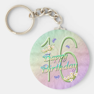 16th Birthday Butterfly Garden Keychain
