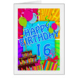 16th birthday card bright and colorful - cake
