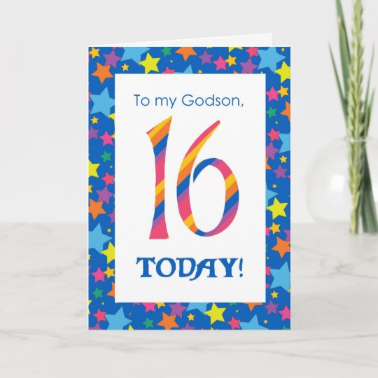 16th Birthday Card For Godson Stripes And Stars