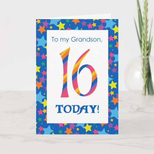 16th Birthday Card For Grandson Stripes And Stars