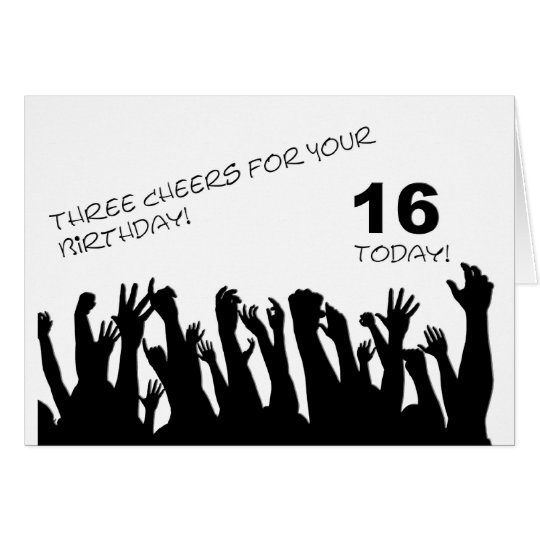 16th Birthday card with cheering waving crowds.