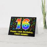 [ Thumbnail: 16th Birthday: Colorful Music Symbols & Rainbow 16 Card ]