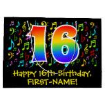 [ Thumbnail: 16th Birthday - Colorful Music Symbols, Rainbow 16 Gift Bag ]