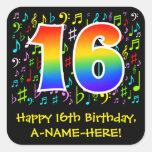 [ Thumbnail: 16th Birthday: Colorful Music Symbols, Rainbow 16 Sticker ]