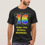 [ Thumbnail: 16th Birthday: Colorful Music Symbols, Rainbow 16 T-Shirt ]
