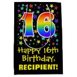 [ Thumbnail: 16th Birthday: Colorful Stars Pattern & Rainbow 16 Gift Bag ]