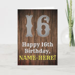 [ Thumbnail: 16th Birthday: Country Western Inspired Look, Name Card ]