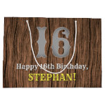 [ Thumbnail: 16th Birthday: Country Western Inspired Look, Name Gift Bag ]