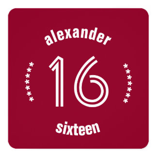 16th Birthday Curved Text and Stars Red White S02 Card