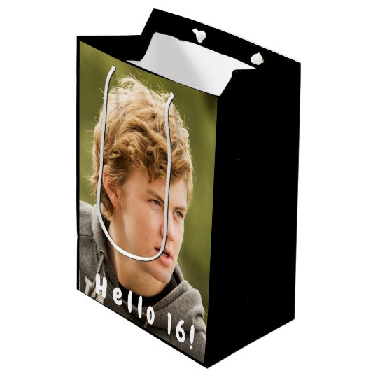 16th Birthday Custom Photo Hello 16 Medium Gift Bag