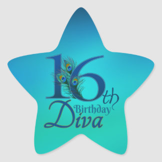 16th Birthday Diva Star Sticker