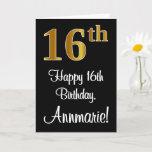 [ Thumbnail: 16th Birthday ~ Elegant Luxurious Faux Gold Look # Card ]
