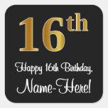 [ Thumbnail: 16th Birthday – Elegant Luxurious Faux Gold Look # Sticker ]
