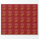 [ Thumbnail: 16th Birthday: Elegant, Red, Faux Gold Look Wrapping Paper ]