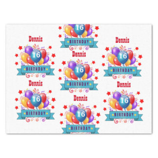 "16th Birthday Festive Colorful Balloons V10GZ 15"" X 20"" Tissue Paper"