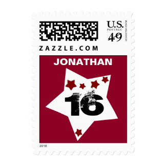 16th Birthday Festive Stars RED and BLACK A04 Postage