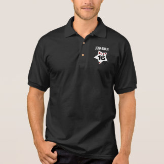 16th Birthday Festive Stars RED and BLACK A08A Polo Shirts