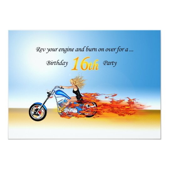 16th birthday Flaming motorcycle party invitation
