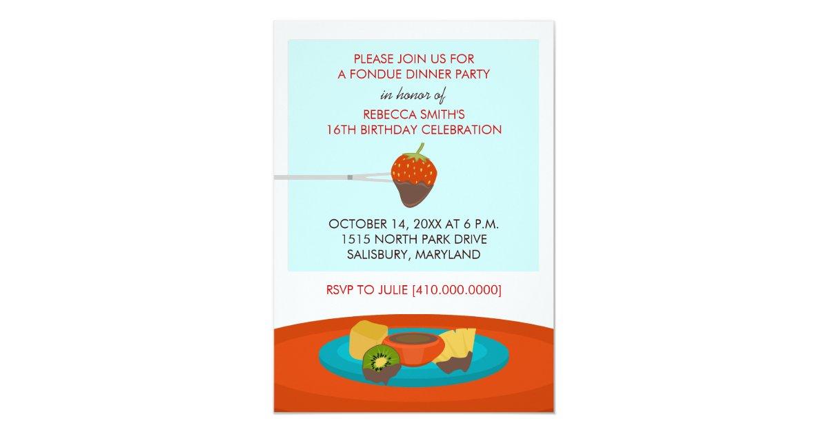 16th Birthday Fondue Dinner Party Invitations | Zazzle.com