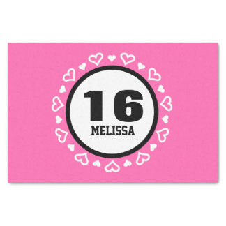 16th Birthday for Her HEARTS Frame PINK P29AZ Tissue Paper